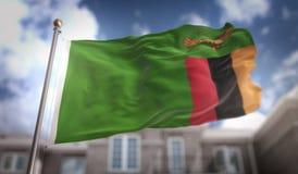 Zambiowie Zaznaczają 3D rendering na niebieskie niebo budynku tle Fotografia Stock