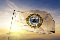 Zamboanga del Sur province of Philippines  flag textile cloth fabric waving on the top sunrise mist fog. Zamboanga del Sur province of Philippines flag textile stock photos