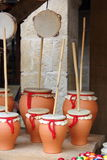 Zambomba y Tambourine Fotografia Stock