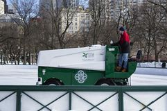 Zamboni driver cleaning the ice. 3-10-13 Close view of the Zamboni with magnetic sign reading Boston Parks & Recreation- Thomas M. Menino Mayor Royalty Free Stock Photo