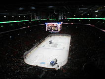 Zamboni i NHL-leken av Canadiens Habs som spelar i den mittKlocka mitten, Montreal, Kanada Royaltyfri Foto