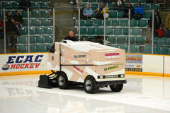 Zamboni in NCAA Hockey Game Stock Images