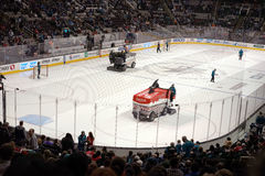 Zamboni with shark fin stock images