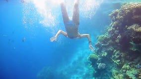 Zambullida de la mujer subacuática en máscara del salto que bucea metrajes