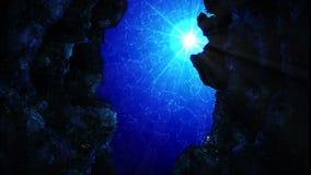 Zambullida en el oc?ano Rayos del sol de la visi?n y burbujas de aire subacu?ticos en el mar azul profundo Concepto de lujo de la ilustración del vector