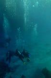 Zambullidores de equipo de submarinismo en el mar Foto de archivo