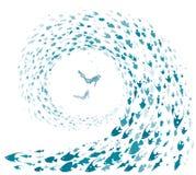 Zambullidores y pescados del mar ilustración del vector