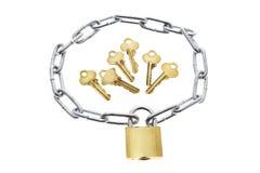zamek łańcuchów kluczy Fotografia Royalty Free