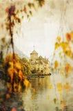 zamek nad jezioro. Fotografia Royalty Free