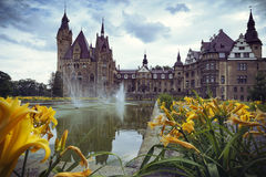 Zamek w Mosznej. Moszna Castle - Beautiful castle and lilies in the foreground Stock Photo