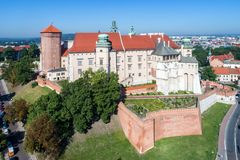 Zamek Wawel Castle in Krakow, Poland. Historic royal Zamek Wawel castle and cathedral in Krakow, Poland, with defensive walls and a garden. Aerial view in the Stock Image