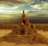 zamek z piasku plaży morza tła Obraz Royalty Free