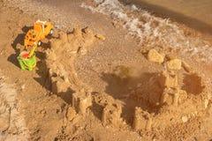 zamek z piasku plaży morza tła Obrazy Stock