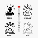 zamiany różnica, różnorodność, opcje, struktura, użytkownik przemiany ikona w linii i glifie Cienkiej, Miarowej, Śmiałej, Projekt ilustracji