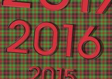 2015 zamienia 2017 i 2016 swój podobieństwo kalendarz na Bożenarodzeniowym tle Ilustracji