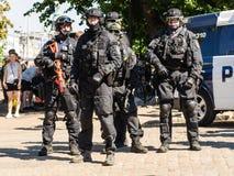 Zamieszki polici monitorowanie protesty w Helsinki Zdjęcia Royalty Free