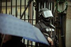 Zamieszki policja Zdjęcia Royalty Free