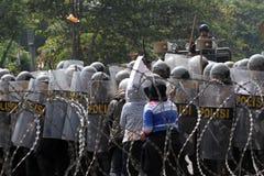 Zamieszki policja zdjęcie royalty free