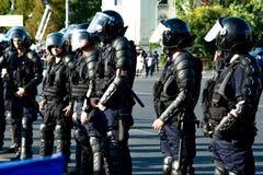 Zamieszki policja przygotowywająca tłumić manifestację Obrazy Royalty Free