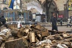 Zamieszki w Khreschatyk ulicie w Kijów Obrazy Royalty Free