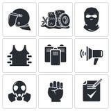 Zamieszki w ulicznych wektorowych ikonach ustawiać Zdjęcie Royalty Free
