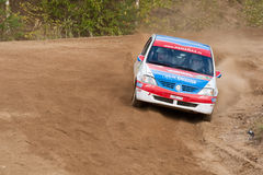 Zamir Irakov drives a white Renault Logan Stock Photography