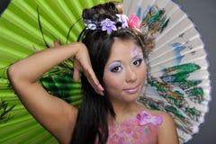 zamknięta Azjata dziewczyna robi portretowi zamknięty Zdjęcie Royalty Free