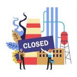 Zamknięta fabryka z pracownikami gubi ich pracę, recesji konsekwencja ilustracja wektor