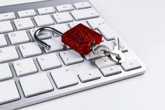 Zamknięta komputerowa skrytka od wirusa lub malware ataka Laptop ochrania od onlinego cyber przestępstwa, siekać i Komputer Zdjęcie Royalty Free