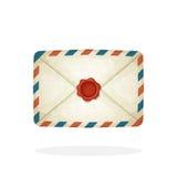 Zamknięta rocznik poczta koperta z czerwoną wosk foką Zdjęcia Stock