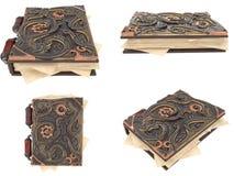 Zamknięta steampunk książka z żelaznymi insets na odosobnionym białym tle ilustracja 3 d ilustracji