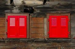zamknięte czerwone żaluzje Obraz Royalty Free