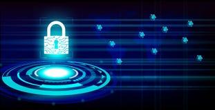 Zamkniętego kłódki gacenia światowa globalna sieć na przyszłościowym technologii tle royalty ilustracja