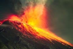 Zamkniętego pasma Długi ujawnienie Tungurahua wulkan Zdjęcie Royalty Free