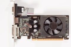 Zamkniętego widoku graficznej karty komputerowy wideo adaptator zdjęcia stock