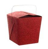Zamkniętej czerwonej błyskotliwości Chiński karmowy bierze karmowy prezenta pudełko Zdjęcie Royalty Free