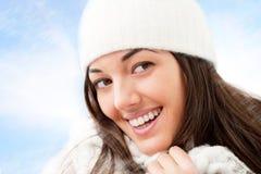 zamkniętej dziewczyny portret w górę zima Fotografia Stock