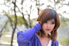 zamknięty azjatykcia piękna zamknięta dziewczyna Fotografia Stock