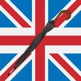 Zamknięty czarny parasol na Union Jack royalty ilustracja