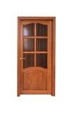 Zamknięty dębowy drzwi na białym tle Fotografia Stock
