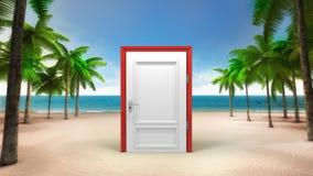 Zamknięty drzwi na piaskowatej tropikalnej plaży Obrazy Royalty Free