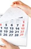 zamknięty kalendarzowe zamknięte ręki fotografia stock