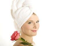 zamknięty kwiatu menchii portreta zdrój w górę kobiety zdjęcia royalty free