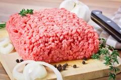 zamknięty mięso przygotowywa target1227_0_ zamknięty obraz stock