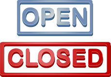 zamknięty otwartego sklepu znak ilustracja wektor