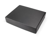 Zamknięty pusty czarny kartonu pudełko na bielu Zdjęcie Royalty Free