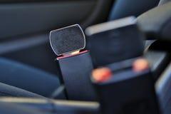 Zamknięty Samochodowa pas bezpieczeństwa klamra up Nie zamknięty niebezpieczeństwo obraz royalty free