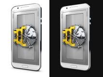 zamknięty smartphone pojęcia ochrony środowisk pojedynczy white Odizolowywający na białej i czarnej tła 3d ilustraci Zdjęcia Royalty Free