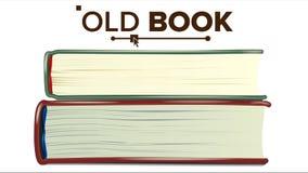 Zamknięty Starej książki Ustalony wektor Edukacja, literatura podręcznik button ręce s push odizolowana początku ilustracyjna kob ilustracja wektor