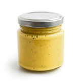 Zamknięty szklany słój żółty curry'ego kumberland w niskim perspect Zdjęcie Stock